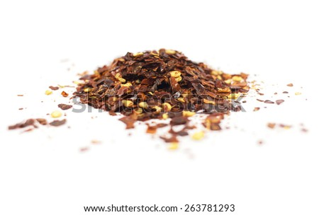 Chilli flakes isolated on a white background. - stock photo