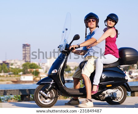 Chilling on the motorcycle - stock photo