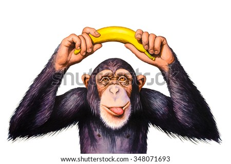 Chimpanzee holding banana hands over his head. Watercolor illustration. - stock photo