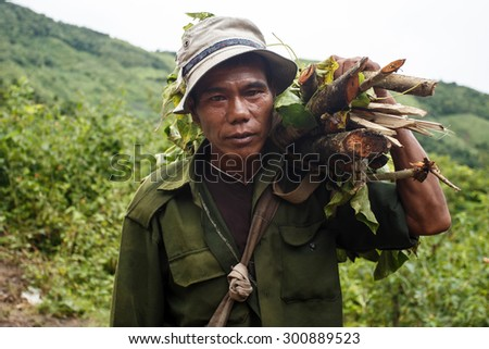 CHIN STATE, MYANMAR - JUNE 22 2015: Man carries load of wood in the only recently opened for tourists Chin State Mountainous Region, Myanmar (Burma) - stock photo