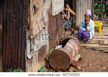 CHIN STATE, MYANMAR - JUNE 18 2015: Shanty town hut in the recently opened for tourists Chin State Mountainous Region, Myanmar (Burma) - stock photo
