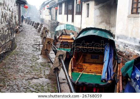 China/ancient water town/Zhouzhuang - stock photo