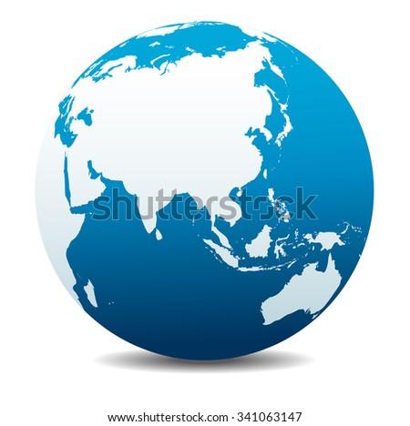China and Asia, Global World - Raster Version - stock photo