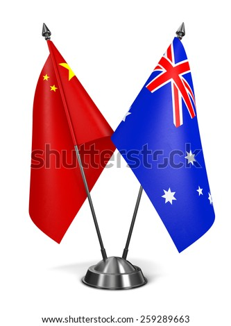 China and Australia - Miniature Flags Isolated on White Background. - stock photo