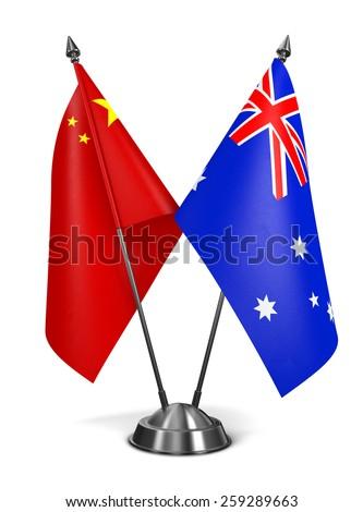 China and Australia - Miniature Flags Isolated on White Background. - stock photo
