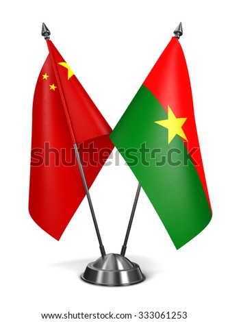 China and Burkina Faso - Miniature Flags Isolated on White Background. - stock photo