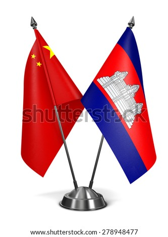 China and Cambodia - Miniature Flags Isolated on White Background. - stock photo