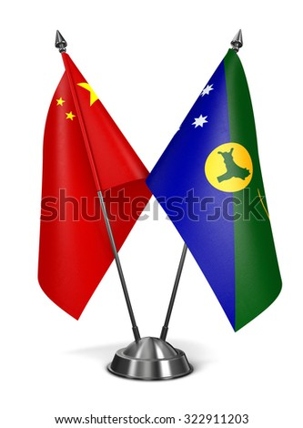 China and Christmas Island - Miniature Flags Isolated on White Background. - stock photo