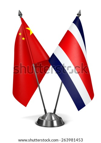 China and Costa Rica - Miniature Flags Isolated on White Background. - stock photo