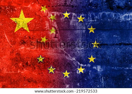 China and European Union Flag painted on grunge wall - stock photo