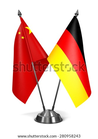 China and Germany - Miniature Flags Isolated on White Background. - stock photo