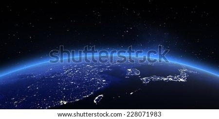 China and Japan. Elements of this image furnished by NASA - stock photo
