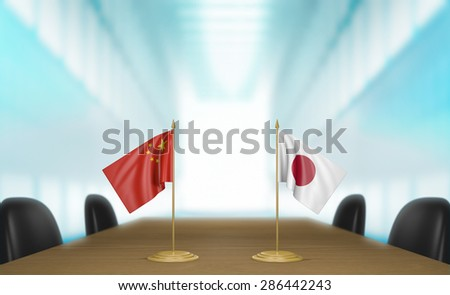 China and Japan relations and trade deal talks 3D rendering - stock photo
