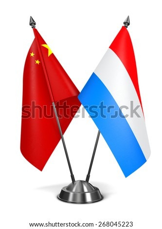 China and Luxembourg - Miniature Flags Isolated on White Background. - stock photo