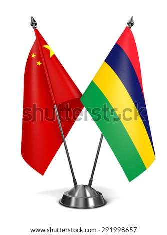 China and Mauritius - Miniature Flags Isolated on White Background. - stock photo
