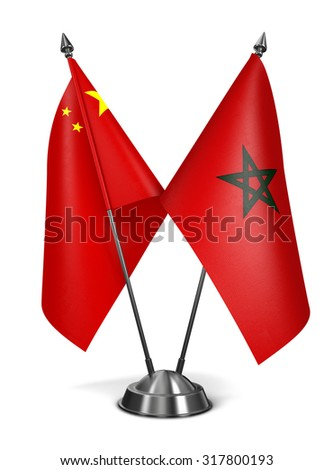 China and Morocco - Miniature Flags Isolated on White Background. - stock photo