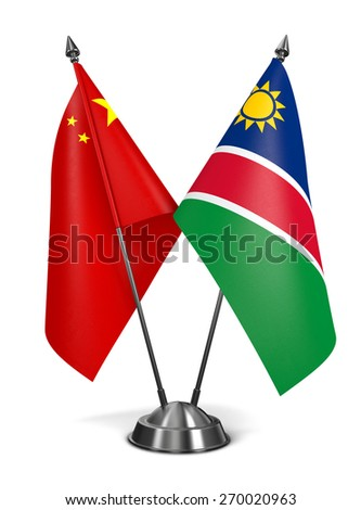 China and Namibia - Miniature Flags Isolated on White Background. - stock photo