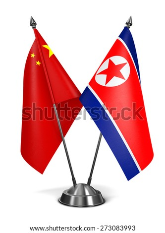 China and North Korea - Miniature Flags Isolated on White Background. - stock photo