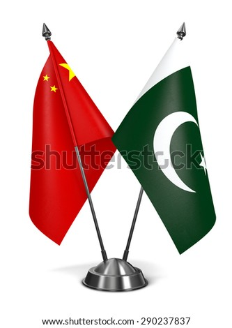 China and Pakistan - Miniature Flags Isolated on White Background. - stock photo