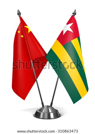 China and Togo - Miniature Flags Isolated on White Background. - stock photo