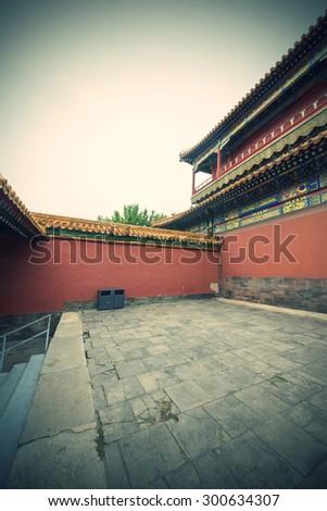 China Beijing Forbidden City Sunset - stock photo