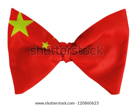 China. Chinese flag  on a bow tie - stock photo