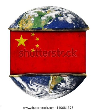 China earth globe flag. Elements of this image furnished by NASA. - stock photo