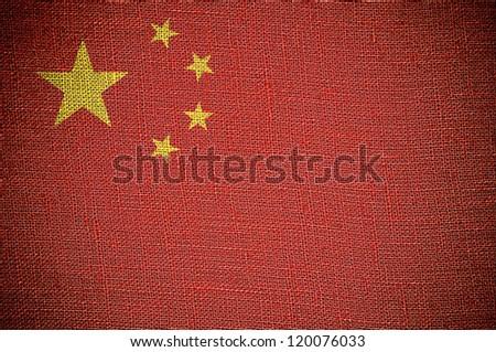 China flag on canvas texture - stock photo