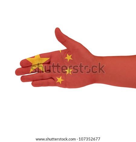 China flag on hand - stock photo