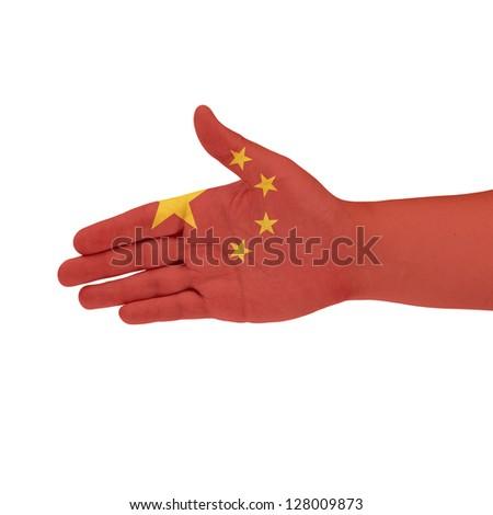 China flag on hand isolate on white background - stock photo