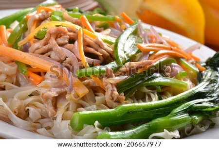 China food style , stir-fried rice noodles - stock photo