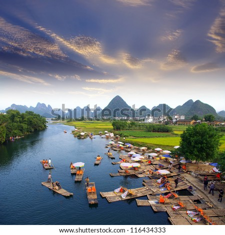 China Guilin landscape raft - stock photo