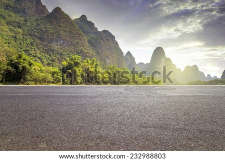 China Guilin Mountains Highway  - stock photo