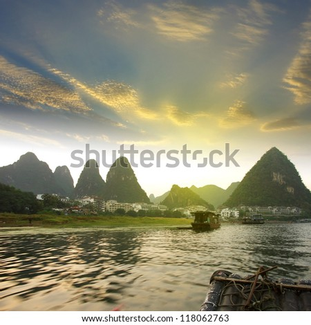 China Guilin Yangshuo rafting - stock photo