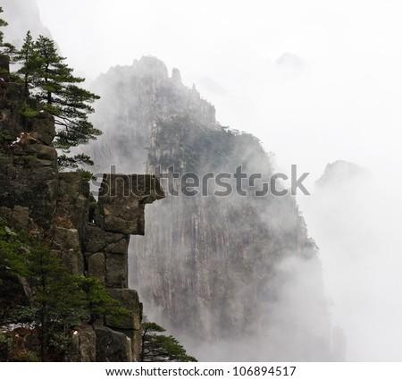 China Huangshan, fog - stock photo