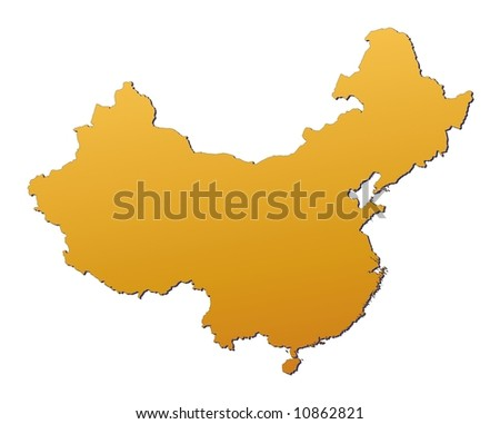 China map filled with orange gradient. Mercator projection. - stock photo