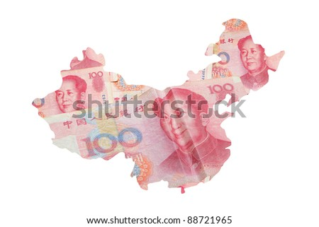 China Map made by Chinese Money (Yuan) currency with smile face isolated on white background - stock photo