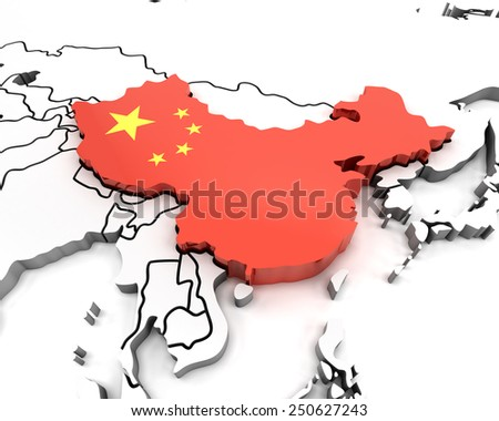 China map with national flag, 3d render - stock photo