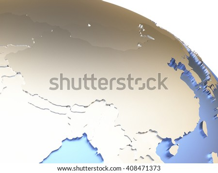 China on metallic model of planet Earth with embossed continents and visible country borders. 3D rendering. - stock photo