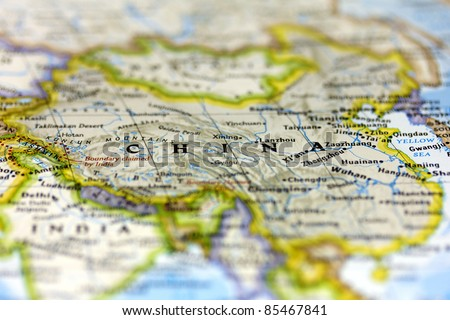 China on the map. - stock photo
