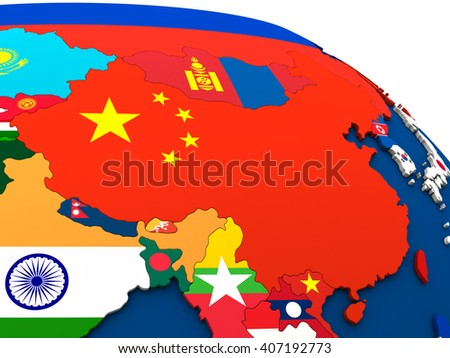 China - political map of China and surrounding region with each country represented by its national flag. 3D Illustration. - stock photo