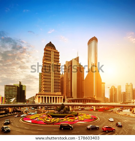China Pudong New Area, Shanghai Lujiazui financial district dusk landscape. - stock photo