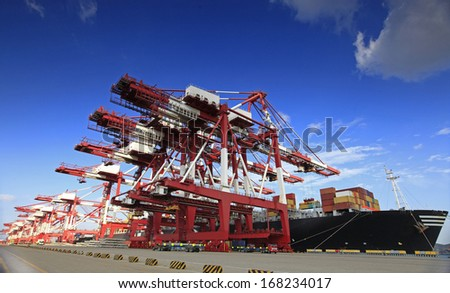China Qingdao port container terminal - stock photo