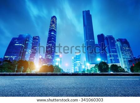 China's Financial District, Guangzhou Pearl River Night - stock photo