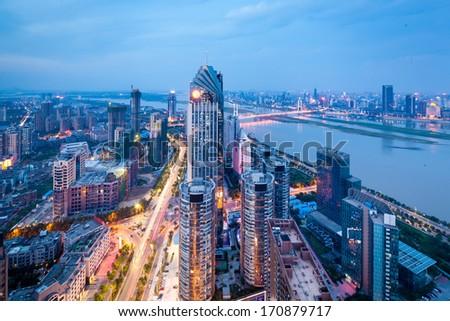 China's Shenzhen city in the night - stock photo