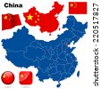 China set. Detailed country shape with region borders, flags and icons isolated on white background. - stock photo