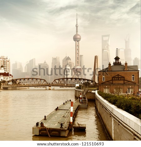 China Shanghai Bund, Lujiazui financial district panorama. - stock photo