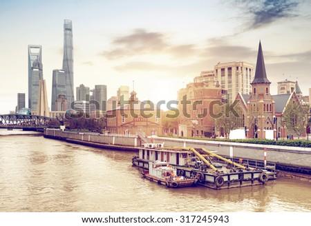 China Shanghai Bund, Lujiazui financial district panorama. - stock photo
