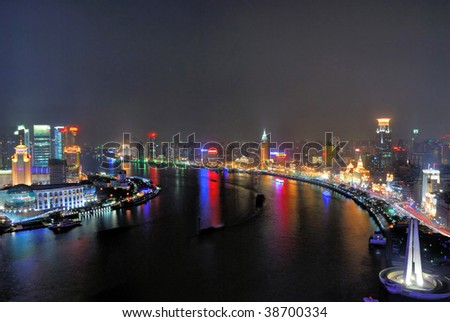 China Shanghai Huangpu river and Bund aerial night view. - stock photo