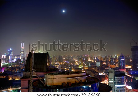 China Shanghai Puxi aerial night view - stock photo